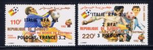 Djibouti C166-67 NH 1982 Soccer Overprint
