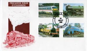Niger 1998 Sc#1014 Trains-Locomotives Set (4) IMPERFORATED FDC