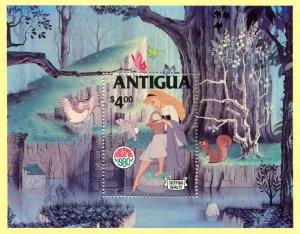 Antigua 1980 DISNEY SLEEPING BEAUTY CHRISTMAS s/s Perforated Mint (NH)