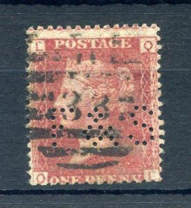 PENNY RED PLATE 158 WITH 'F&S' PERFIN