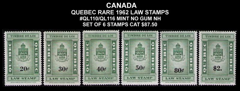 CANADA, QUEBEC REVENUE 1962 #QL110/116 VF SET 6 LAW STAMPS CV $87.00 MINT NO GUM