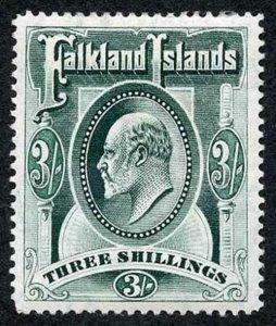 Falkland Islands SG49b KEVII 3/- Deep Green m/mint