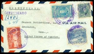 EDW1949SELL : VENEZUELA Nice multi-franked Registered Air Mail cover to USA.