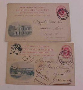 CAPE OF GOOD HOPE  PICTURE POSTAL CARDS 1900,1908 TO USA & WIEN