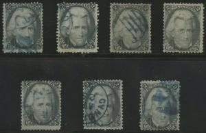 #73 F-VF USED (7) DIFF WITH BLUE CANCELS CV $560 BS1943