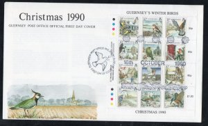 Guernsey Sc 445 1990 Christmas Winter Birds stamp sheet on FDC