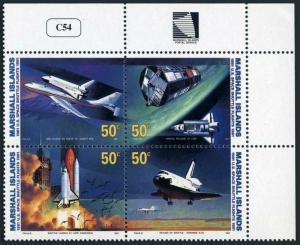 Marshall 391-394a,MNH.Michel 349-352.Space Shuttle Flights-10 Ann.1991.