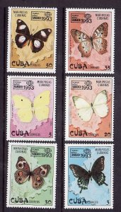 Cuba-Sc#3521-6-unused NH set-Insects-Butterflies-Bangkok exhibition-1993-