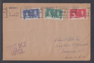 Ceylon Sc 275-277 FDC. 1937 Coronation, cplt set on Selfridge & Co cover