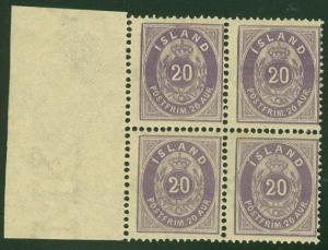 ICELAND #13 (14) 20aur violet, Margin Block of 4, og, NH, VF, Facit $540.00
