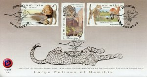 Namibia 2019 FDC Large Felines Lions Cheetahs Leopards 3v Cover Animals Stamps