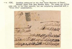 NEPAL Envelope Addressed Prime Minister of Nepal Stamp Removed 1896 AQ159