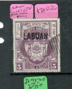 LABUAN   (P0502B)  $5 ARMS ON NORTH BORNEO SG 141 CTO  VFU VERY RARE!!!!