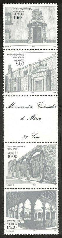 1982 Mexico 1850-53strip Architecture 22,00 €