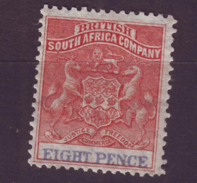 J17042 JLstamps 1890-4 rhodesia mh #8 coat of arms
