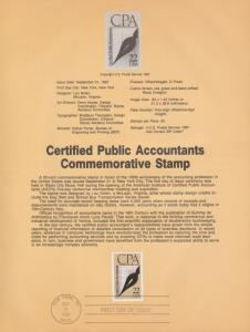 REDUCED !!! 1987 CPA Souvenir Page FDC