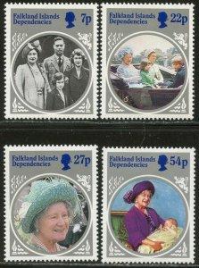FALKLAND IS. DEP. Sc#1L92-95 1985 Queen Mother Complete Set OG Mint Hinged