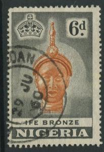 Nigeria -Scott 86 - QEII Definitive Issue -1953 - Used - Single 6p Stamp