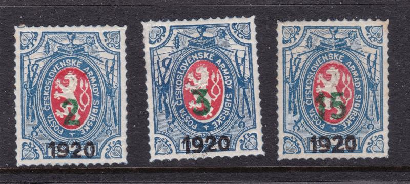 Czechoslovakia Legion 1920 x 3 mint