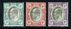 TRANSVAAL King Edward VII 1902 A Watermark Crown CA Group SG 244 to SG 246 MINT