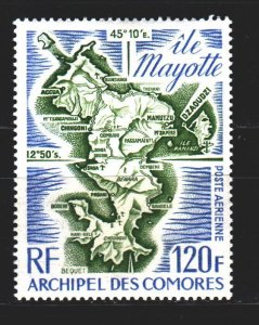 Comoro Islands. 1974. 179. Map of Mayotte. MNH.