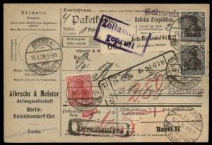 Germany 1920 DR Germania Wmk Cover Switzerland G96002