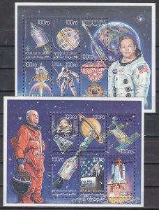 Djibouti, Scott cat. 825-826. Astronauts & Space on 2 sheets. ^