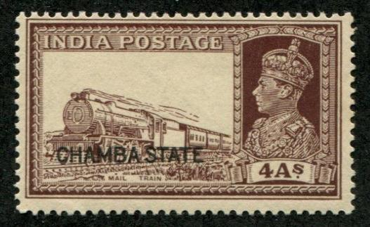 India - Chamba SC# 78 (SG# 90) Mail Train, 4as, MH