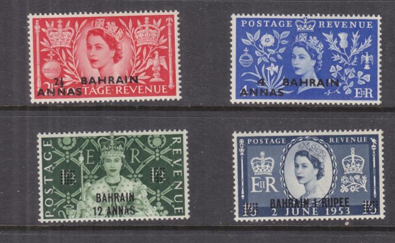 BAHRAIN, 1953 Coronation set of 4, lhm.