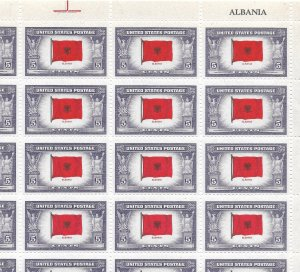 Doyle's_Stamps: MNH Sheet of 1943 Overrun Nations' Albania, Scott #918**