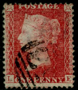SG38, 1d pale red PLATE 59, LC14, FINE USED. Cat £35. LE