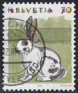Switzerland - 1991 - Scott #872 - used - Rabbit
