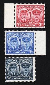 AUSTRALIA STAMPS SCOTT 197-199 DUKE AND DUCHESS OF GLOUCESTER 1944 SET MNH-OG