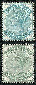 Natal SG97/a 1884/5 1/2d wmk Crown CA Blue-green and Dull green Cat 107 pounds