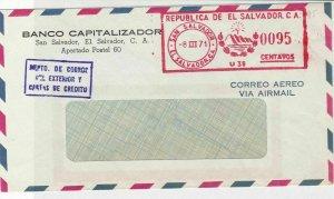 El Salvador 1971 Banco Capitalizador Slogan Cancel Airmail Stamps Cover R 17635