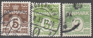 Denmark #89-91 F-VF Used   CV $8.75