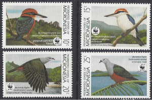 Micronesia #106-9 mint, WWF kingfisher πdgeons issued 1990