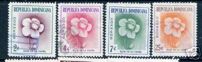 563F DOMINICAN REP. DOMINICANA 489-492 VFU FLOWER