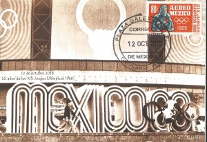 J) 2018 MEXICO, 50 YEARS OF THE OLYMPIC GAMES, POSTCARD