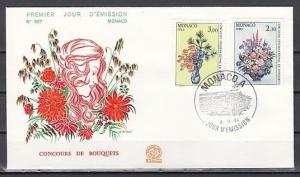 Monaco, Scott cat. 1440-1441. International Flower Show issue. First day cover.