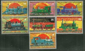 Equatorial Guinea MNH Set Of 7 Locomotives