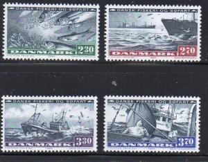 Denmark Sc 760-3 1984 Fishing and Shipping Industries stamp set mint NH