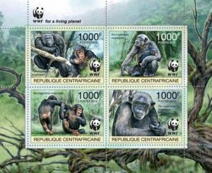 CENTRAFRICAINE 2012 SHEET WWF PAN TROGLODYTES MONKEYS WILDLIFE