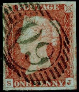 SG8, 1d red-brown, FINE USED. Cat £30. 4 MARGINS. SJ