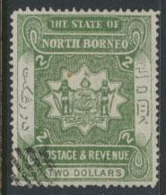 North Borneo  SG 84 SC# 71 Used  Dull Green  please see scans & details
