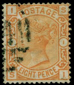 SG156, 8d orange, FINE USED. Cat £350. SI