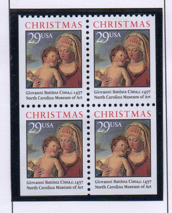 United States Sc 2790a 1993 Christmas Madonna stamp booklet pane mint NH
