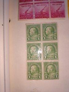 6 ben Franklin 1 cent stamps