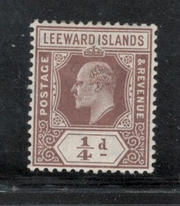 Leeward Islands 1909 King Edward VII 1/4p Scott # 41 MH