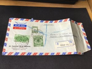 Pakistan registered camp p.o. To england stamps cover Ref R28766